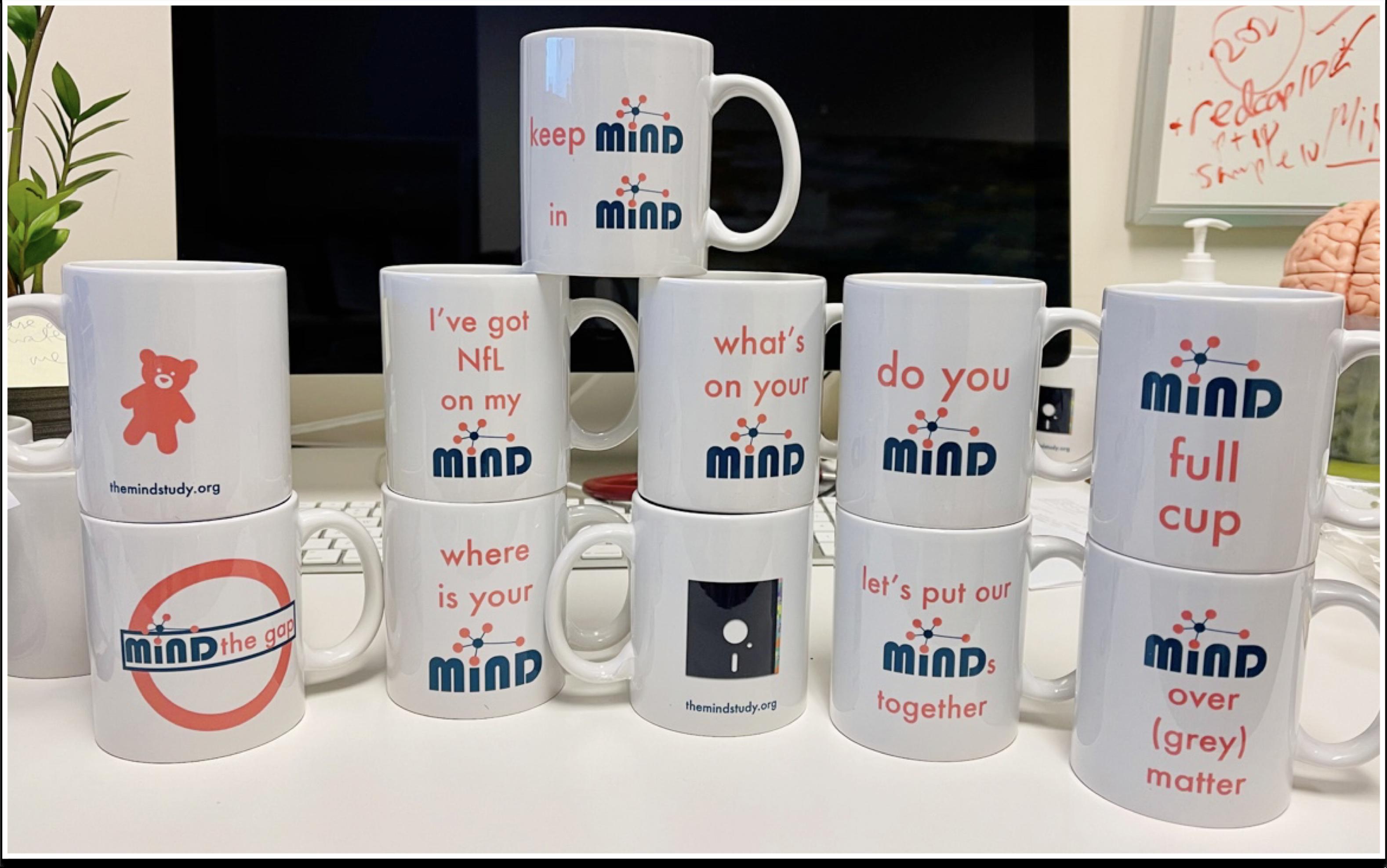 the MiND study mugs puns